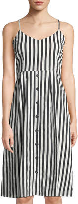 Velvet Heart Striped Button-Down Tie Back Midi Dress