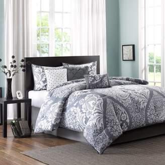 7-Piece Luxury Comforter Set in Damask Gray, Queen