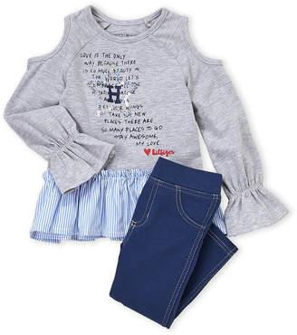 Tommy Hilfiger Toddler Girls) Two-Piece Cold Shoulder Top & Denim Legging Set