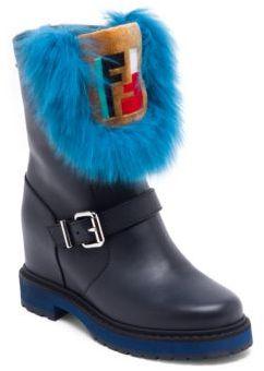 Fendi Fur-Trim Leather Moto Boots