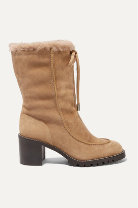 Jimmy Choo Buffy 65 Shearling-lined Suede Boots - Beige