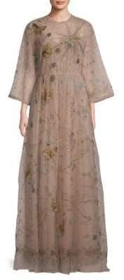 Valentino Embroidered Floor-Length Evening Dress