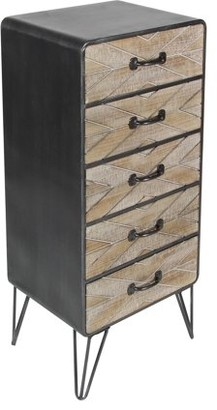 DecMode Decmode Modern 39 X 16 Inch Rectangular Brown Five-Drawer Wooden Chest With Iron Paper Clip Legs, Brown