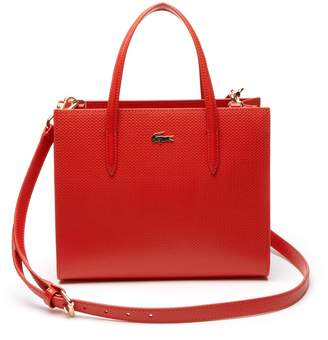 Lacoste Women's Chantaco Dual Carry Pique Zip Leather Tote