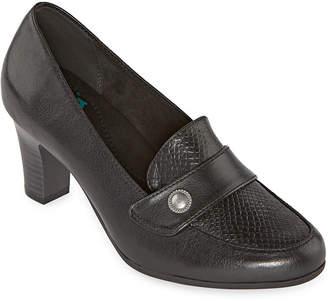 Yuu Womens Tessa Pumps Round Toe Stacked Heel