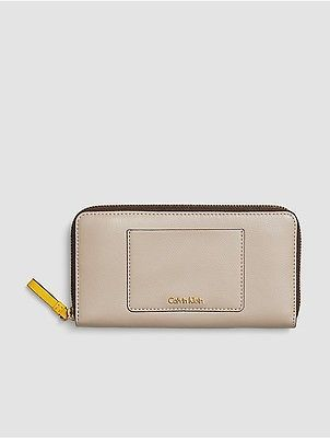 Calvin Klein Calvin Klein Womens Julienne Leather Large Zip Wallet Mushroom