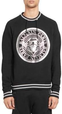 Balmain Men's Striped Coin Logo Sweatshirt - Black - Size XXL