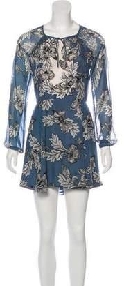 For Love & Lemons Silk Printed Mini Dress