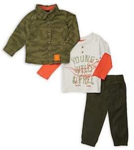 Nannette Little Boy's Three-Piece Camo Shirt, Slogan Henley & Pants Set