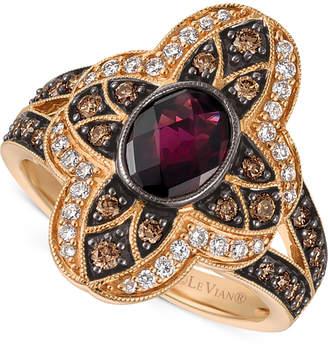 LeVian Le Vian Chocolatier Rhodolite Garnet (1 ct. t.w.) and Diamond (5/8 ct. t.w.) Statement Ring in 14k Rose Gold