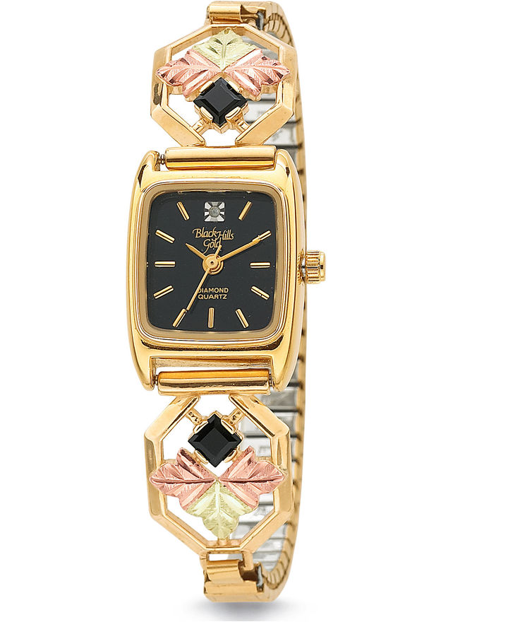 JCPenney Black Hills Gold Diamond-Accent Octagon Watch