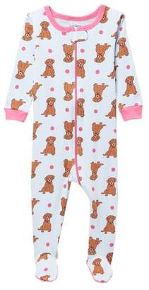 Leveret Puppy Footed Pajama Sleeper (Baby Girls)
