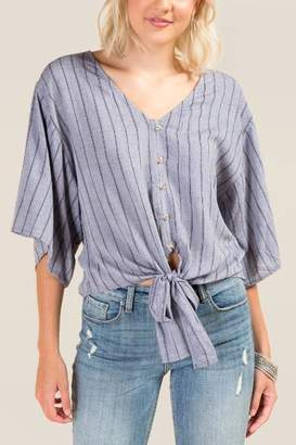 francesca's Jasmine Striped Button Front Top - Chambray