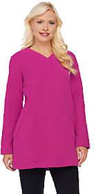 Denim & Co. Long Sleeve Fleece V-NeckTunic w/Pockets