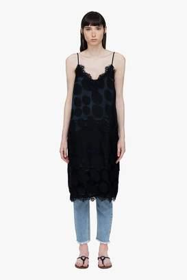 Genuine People Lace Circle Silk Slip Midi Dress