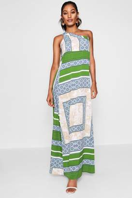 boohoo One Shoulder Scarf Print Maxi Dress