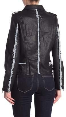 Blank NYC BLANKNYC Denim Faux Leather Moto Jacket With Denim Trim