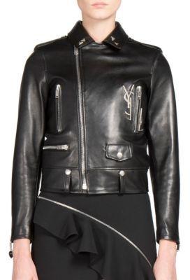 Saint LaurentSaint Laurent Embellished Leather Moto Jacket
