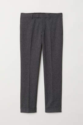 H&M Slim Fit Melange Suit Pants - Black