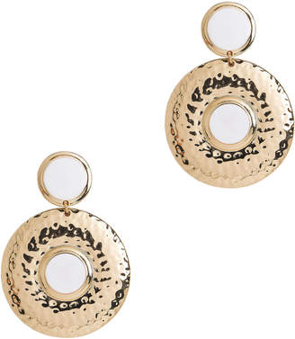 Tuleste Double Shield White Earrings