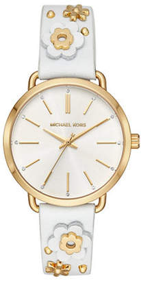 Michael Kors Portia Goldtone White Floral Applique Leather Strap Watch