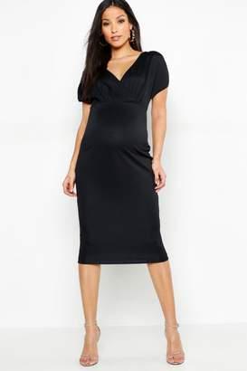 2d4d0e2563 boohoo Maternity Ruched Sleeve Wrap Front Midi Dress