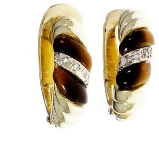 14K Yellow Gold Tiger Eye Diamond Earrings