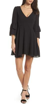 BB Dakota V-Neck Ruffle Crepe Minidress