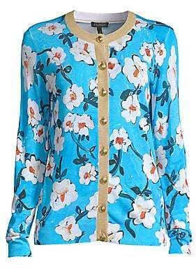 Escada Women's Siemara Lurex Trim Floral Cardigan