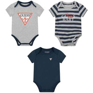 GUESS Boys Grey & Navy Bodysuits Set (3 Piece)