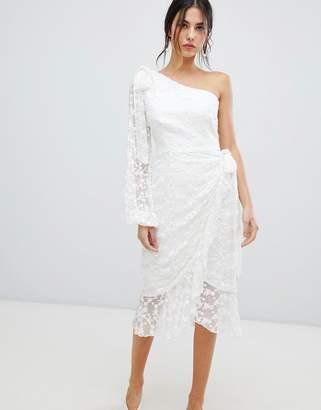 Keepsake Retrospect one sleeve lace midi dress