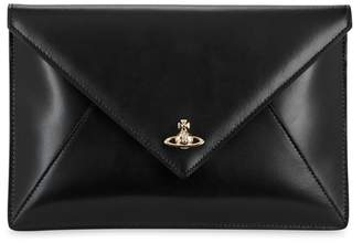 Vivienne Westwood Private Black Leather Envelope Clutch
