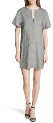 Theory Split Neck Linen Blend Shift Dress