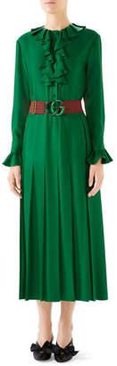 Gucci Belted Ruffle-Trim Silk Twill Peasant Dress
