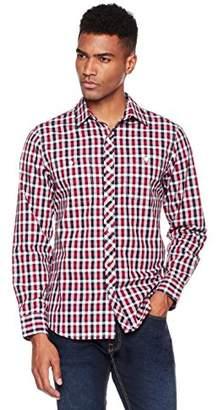 Wood Paper Company Men's Long Sleeve Regular Fit 2-Pocket Contrast Placket Cotton Plaid Shirt