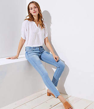 LOFT Petite Modern Patchwork Skinny Jeans in Light Stonewash