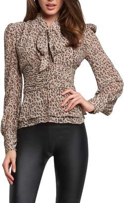 Bardot Leopard Print Tie Neck Blouse