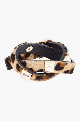 Fallon Brown and gold leopard print calf-hair Double Wrap studded Bracelet