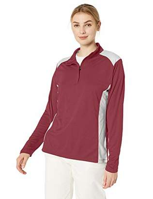 TM365 Women's TM36-TT26W-Mélange Interlock Performance Quarter-Zip Top