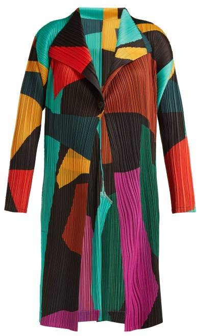 Abstract Print Pleated Coat - Womens - Multi