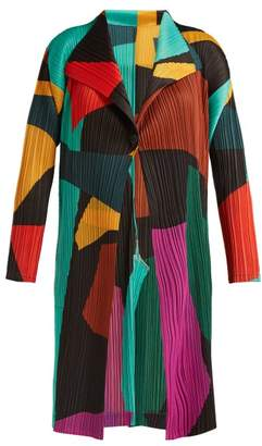 Pleats Please Issey Miyake Abstract Print Pleated Coat - Womens - Multi