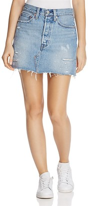 Levi's Distressed Denim Mini Skirt in American Wild $128 thestylecure.com