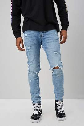 Forever 21 Distressed Acid-Wash Button-Fly Jeans