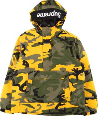 Supreme Hooded Logo Half Zip Pullover - 'FW 17' - Yellow Camo