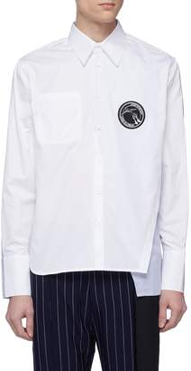 The World Is Your Oyster Slogan appliqué stripe layered panel shirt