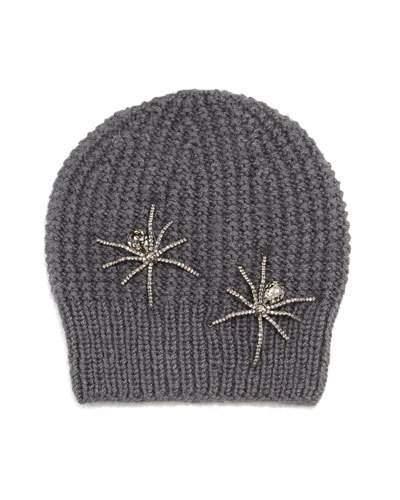 Jennifer Behr Double Crystal Spider Knit Beanie Hat, Slate Gray