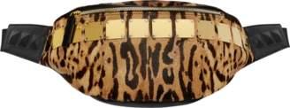 MCM Stark Logo Plate Belt Bag In Leopard Haircalf