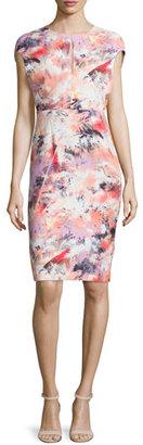Black Halo Cap-Sleeve Floral-Print Sheath Dress $249 thestylecure.com