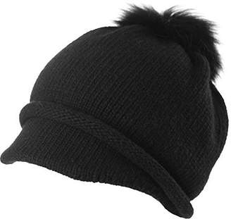 Siggi 100% Wool Knitted Visor Beanie with Brim Pom Cold Weather Winter Hat for Women Newsboy Cap Black