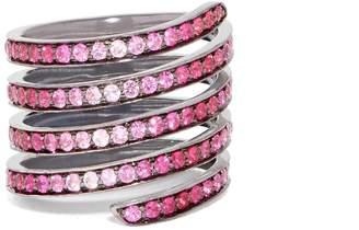 LYNN BAN Ombré sapphire, ruby & rhodium- silver coil ring